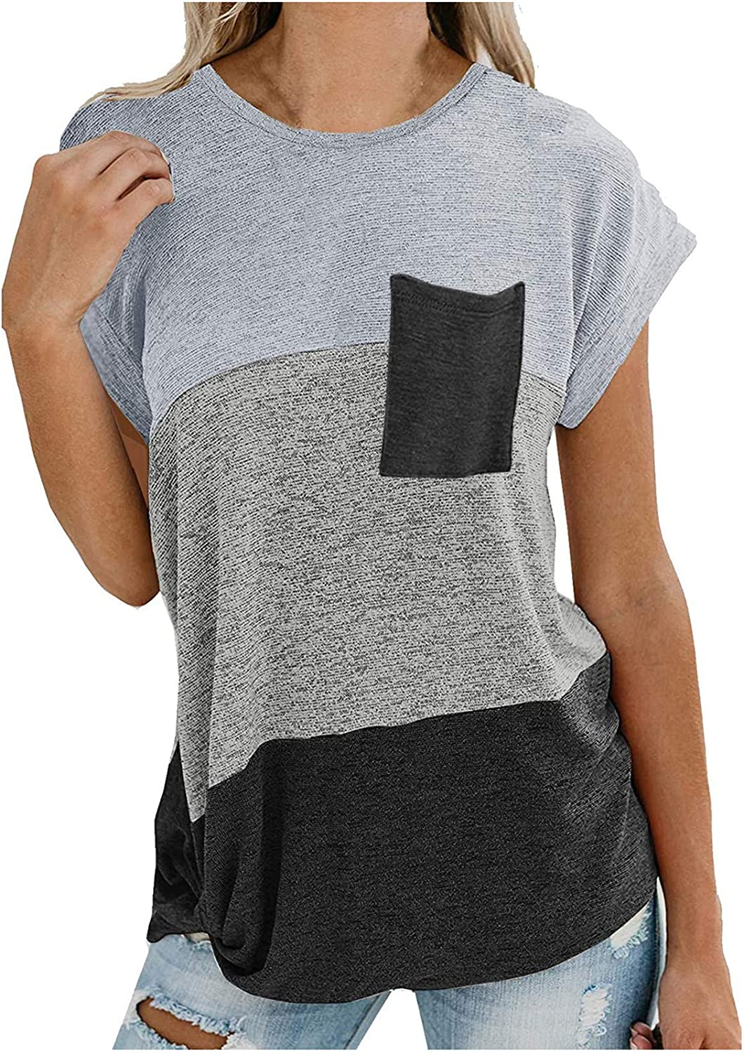 FABIURT Women Short Sleeve Tops,Womens Fashion Color Block Printed Twsit Knot T Shirts Summer Casual Loose Blouse Tops