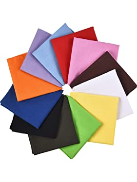 12 Pieces Solid Color Cotton Bandanas Colorful Multifunctional Headband Scarf for Women Men
