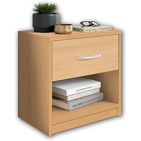 Stella Trading PEPE aspect hêtre-Table de chevet simple avec un tiroir convenant à chaque lit et chambre à coucher, 39 x 41 x 28 cm