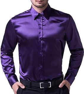 Men's Solid Color Shiny Satin Silk Like Dance Prom Dress Shirt