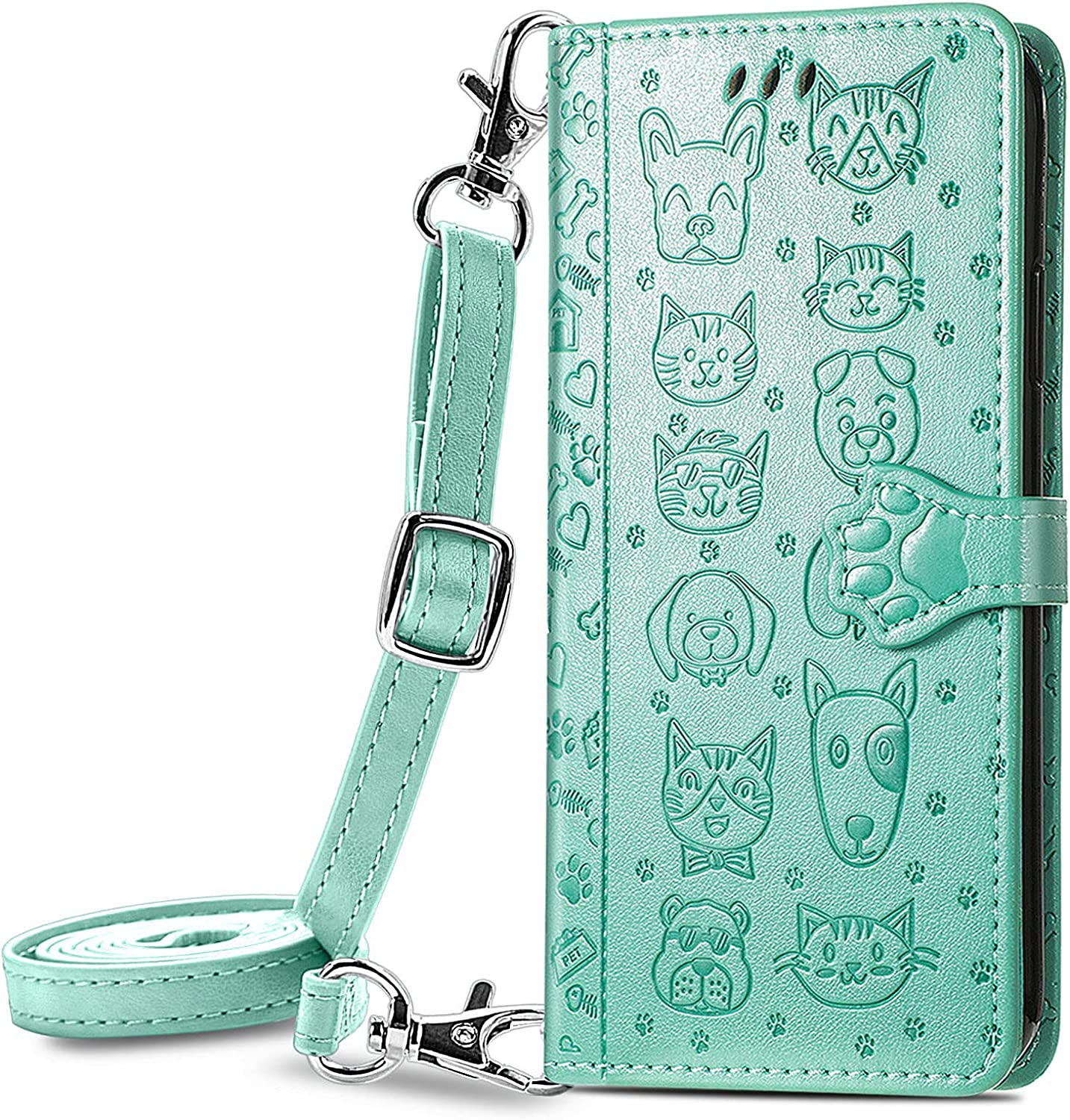 DAMONDY Case for Xiaomi Redmi Note 10 Pro,Cute Cat Kickstand Credit Card Holder Lanyard Strap for Women & Men, PU Leather Purse Cases with Clasp Phone Case for Redmi Note 10 Pro Max -Green