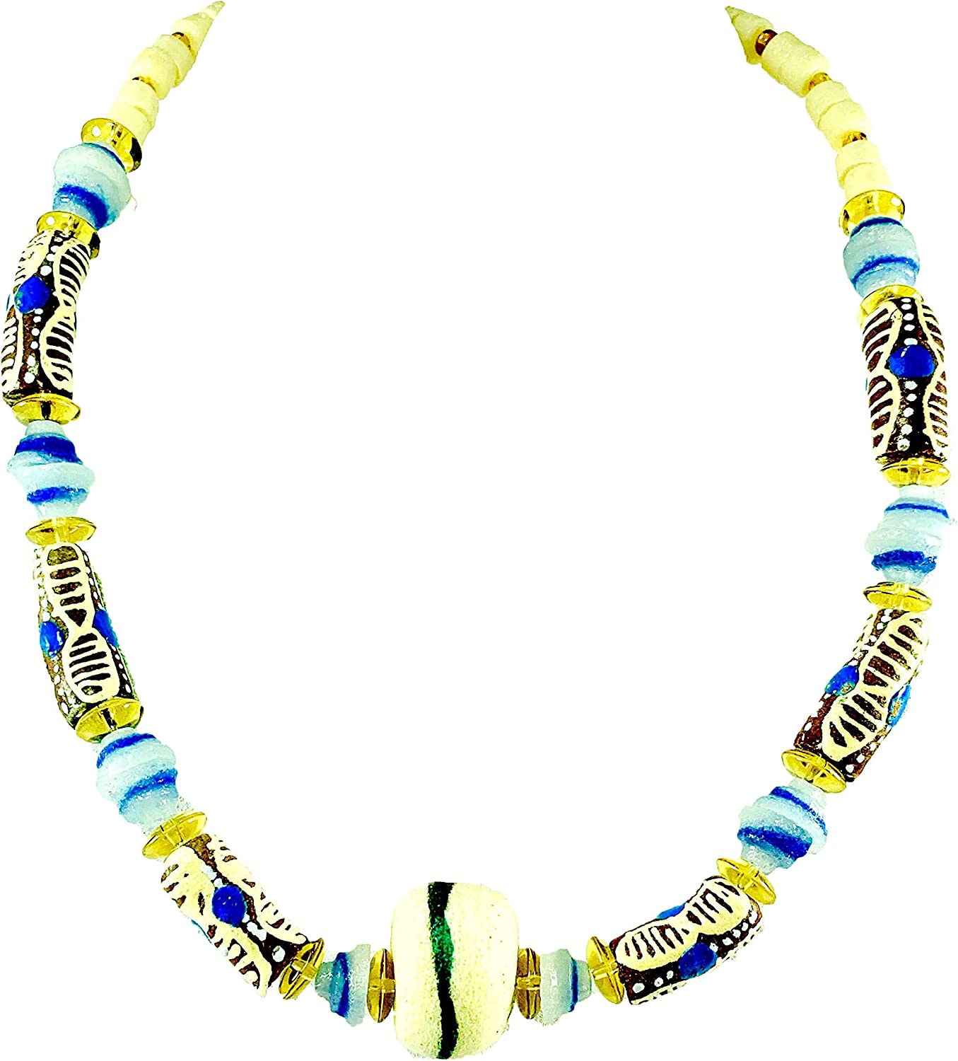 Sophia Dor Himba Glass Bead Necklace with Bracelet and Earrings Set