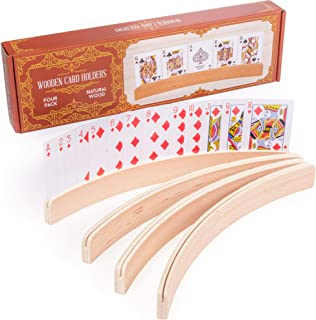 4-Pack Premium Wooden Card Holders | Holds Up to 20 Cards Hands-Free | Curved Wood Playing Card Organizer for Adults, Kids...