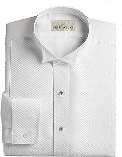 Wing Collar Tuxedo Shirt, Pique Bib Front, 65% Polyester 35% Cotton