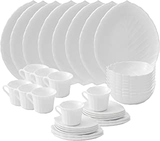 Matashi 40-Piece Opal Glassware Dinner Set - Break Resistant - Freeze Resistant- Dishwasher Safe – Service for 8 | Gift for Thanksgiving, Christmas, New year (Vine Collection, White)