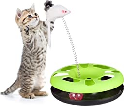 Relaxdays Katzenspielzeug mit Maus, Kugelbahn, Ball mit Glöckchen, Cat Toy, Training & Beschäftigung, Versch. Farben