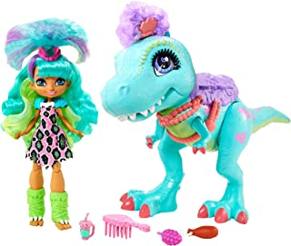 Mattel Cave Club Rockelle Doll and Tyrasaurus Dinosaur Pal Playset with Accessories, Gift for 4 Year Olds and up, Multi (G...