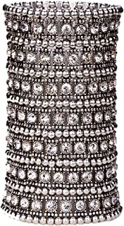 Women's Multilayer Big Stretch Cuff Bracelets Fit Wrist Size 7 to 7-4/5 Inch - Elastic Band & 7 Row Crystals Jewelry - 4-1/2 Inch Wide - Lead & Nickle Free