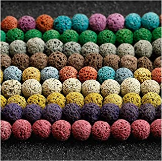 Coolrunner 120pcs Mixed Color lava stone beads, Round Loose Beads for Jewelry Making, Essential Oil Diffuser Accessories Multi-colors(8mm)