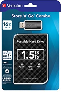 Verbatim Store'n Go Combo Set externe HDD 1,5 TB 2,5 inch + 16 GB USB-stick 3.0 zwart