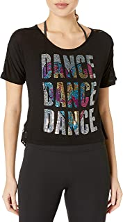 Gia Mia Dance Women's Lace Back Dance Tee Sequin Jazz Hip Hop Yoga Performance Team