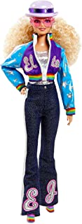 Elton John Barbie Collector Doll (12-inch, Curly Blonde Hair) in Bomber Jacket and Flared Denim, with Doll Stand and Certi...