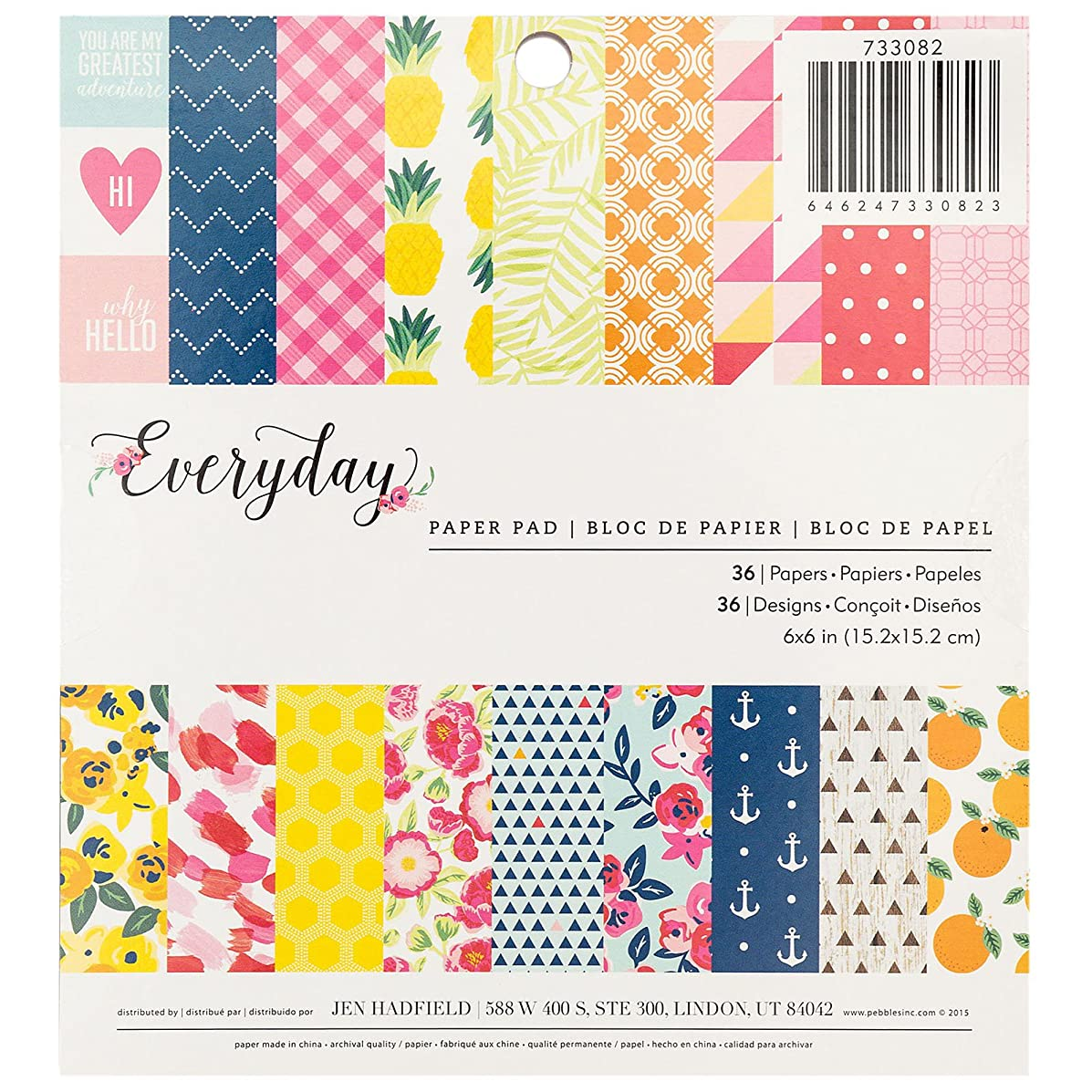 American Crafts Pebbles Jen Hadfield Everyday 6 X 6 Inch 36 Sheet Paper Pad