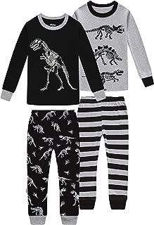Image of Black and Grey Dinosaur Pajamas for Boys - 4 Piece