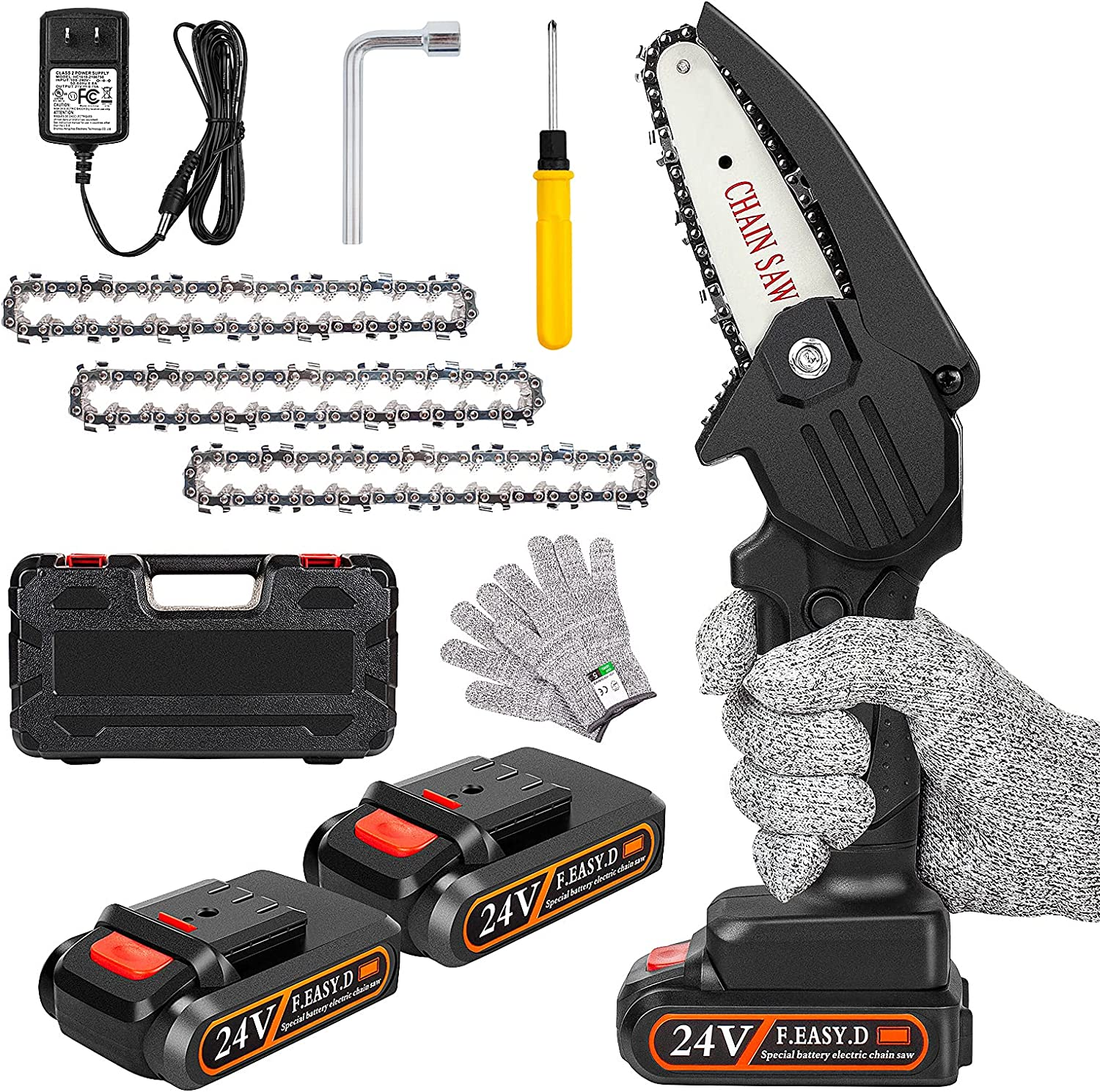 Jacksonville Mall Mini Chainsaw Cordless with 2 Inch 4 Cheap mail order sales Batteries OneLeaf Portable