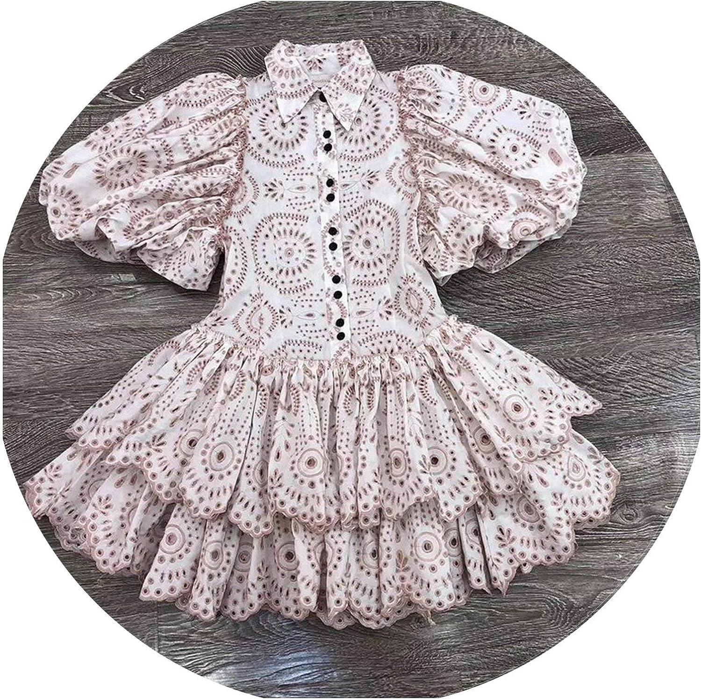 Casual Print Dress Women Lapel Puff Sleeve High Waist Hollow Out Dresses Spring Tide