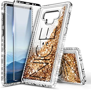 Galaxy Note 9 Case with Screen Protector (3D Pet Full Coverage) for Girls Women, NageBee Glitter Liquid Bling Floating Quicksand Waterfall Shockproof Cute Case for Samsung Galaxy Note 9 -Nice
