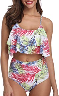 6857d2326a773 F-Tempt Two Piece Sexy Swimsuit for Women Double Tiered Ruffle Flounce Crop  Top with