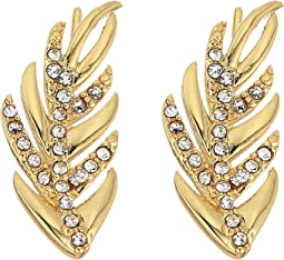 LAUREN Ralph Lauren - Gold Pave Feather Climber Earrings