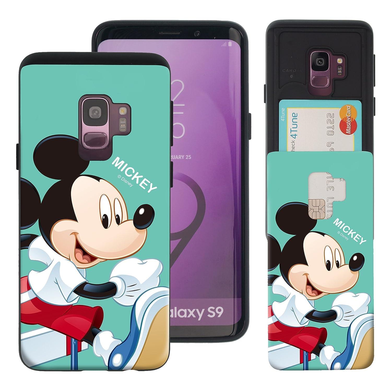 スカート見える本部Galaxy S9 ケース Disney Mickey Mouse ディズニー ミッキーマウス カード スロット ダブル バンパー ケース/スマホケース おしゃれ 【 ギャラクシー S9 ケース (5.8