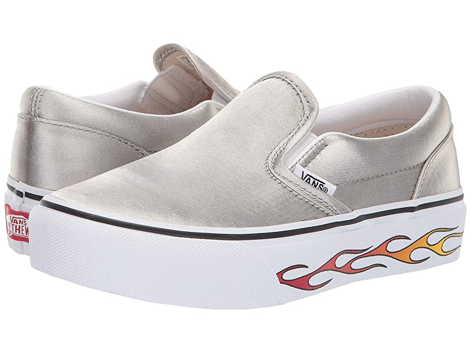 Vans Kids Classic Slip-On Platform (Little Kid/Big Kid) ((Sidewall Flame) Metallic Silver) Girls Shoes