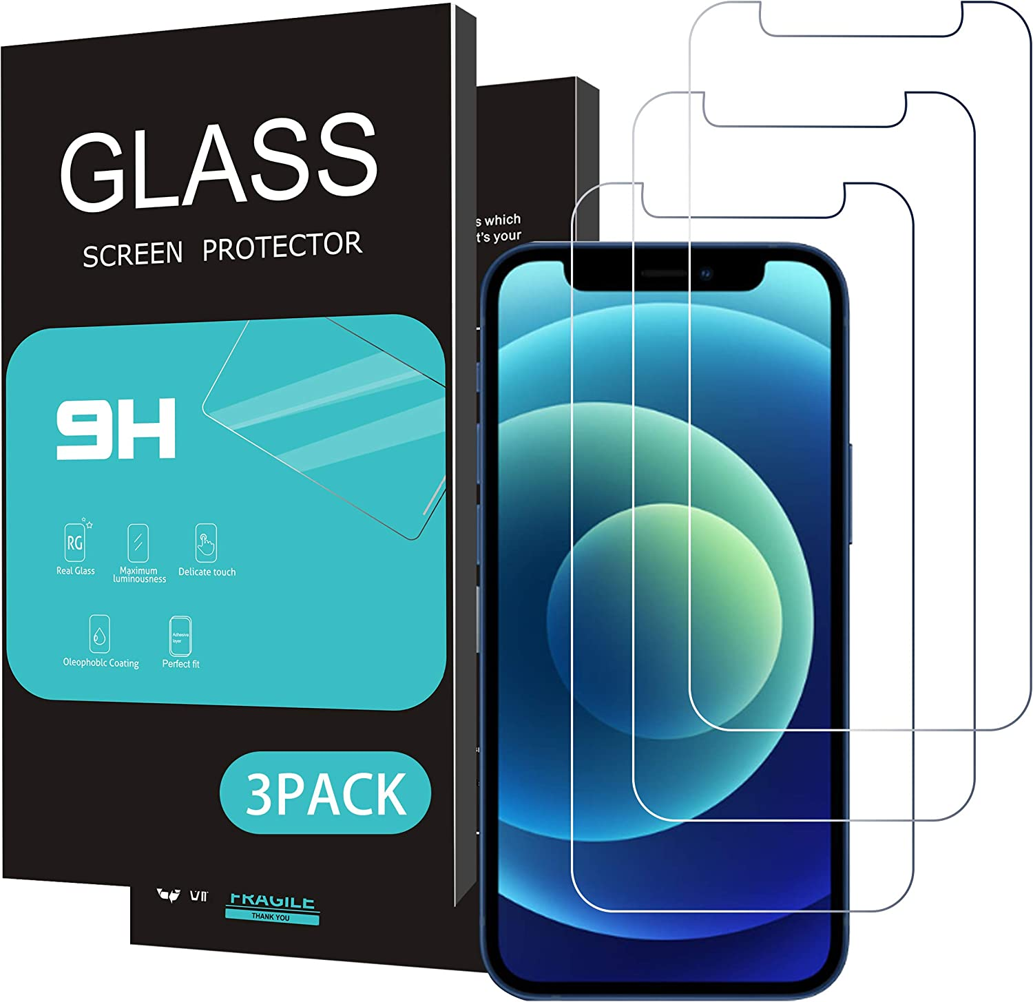 Homemo Glass Screen Protector Compatible for iPhone 12 mini 2020 5.4 Inch 3Pack Tempered Glass