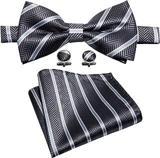 Bowtie Silk Tie Mens Pocket Square Cufflinks Set Wedding Necktie Formal