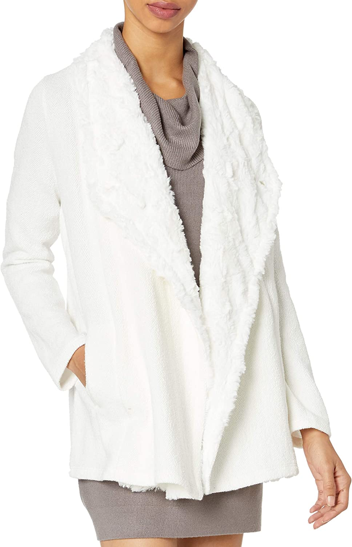 Jack Women's in The Mix Knit/Faux Fur Shearling Drape Front Jacket