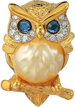 Gold/Tortoise Rhine Pearl Body/Saphire Eyes Owl Pin