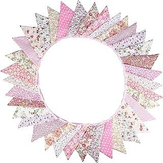G2PLUS Urocza girlanda dwustronna, 10 m, różowa, materiałowa girlanda z 36 kolorowymi proporczykami, na wesele, urodziny, ...