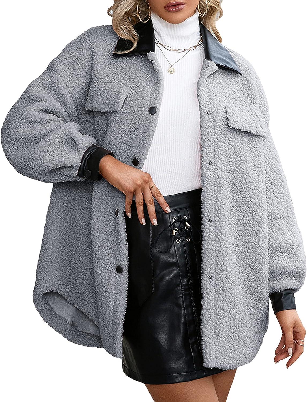 Yeokou Women's Sherpa Fleece Jackets Faux Fur Pu Patchwork Warm Winter Shacket Outwear Coat