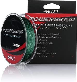 RUNCL PowerBraid Braided Fishing Line, Ultra Durable Braided Line 4/8/9 Strands - Seamless Weaving Tech, Enhanced Coating Tech, Zero Stretch, High Sensitivity, Smaller Diameter - 300Yds, 15-115LB