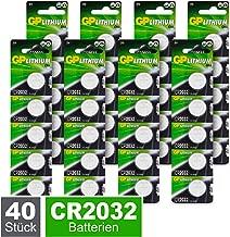 GP CR2032 Lithium Knopfzellen 3V, Knopfbatterien CR 2032 / DL2032, Spannung 3 Volt (40 Stück im 8x 5er Pack, Batterien einzeln entnehmbar)
