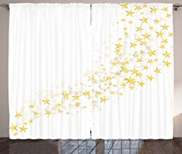 Ambesonne Yellow and White Curtains, Yellow Stars Flowing Over The White Backdrop Magic Galaxy Celebration, Living Room Bedroom Window Drapes 2 Panel Set, 108