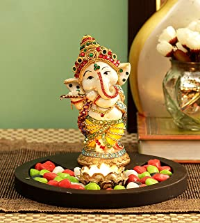 TIED RIBBONS Ganesh Idol Playing Bansuri with Wooden Flower Tealight Candle Colorful Stones and Wooden Base for Home Mandi...