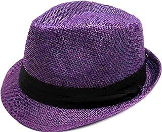 AbbyLexi Men Women Outdoors Summer Short Brim Straw Fedora Sun Hat 34baa1c0910f