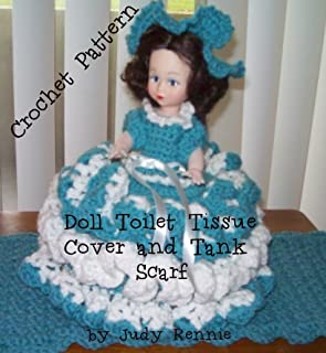 Crochet Pattern - Doll Toilet Tissue Cover and Tank Scarf