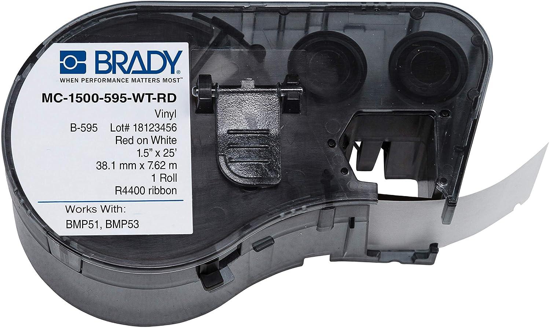 Brady MC-1500-595-WT-RD Vinyl B-595 Red on White Label Maker Car
