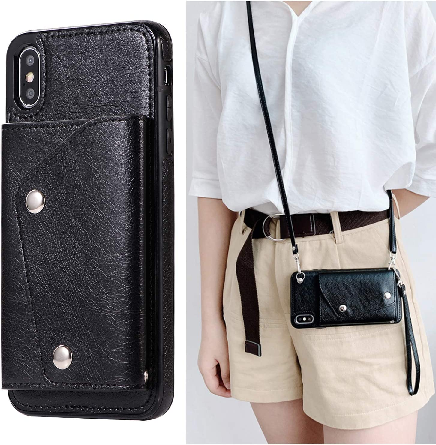 LUVI for iPhone X/XS Wallet Case with Crossbody Neck Strap Lanyard Handbag Hand Wrist Strap Protective Cover with Credit ID Card Holder Slot PU Leather Case for iPhone X/XS Black