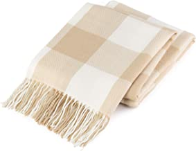 GOOD MANORS Buffalo Plaid Throw Blanket with Fringe, Farmhouse Check Pattern, Ultra Lightweight 15 oz, Woven Soft Breathable Stylish, 50 x 60 in. (Tan)
