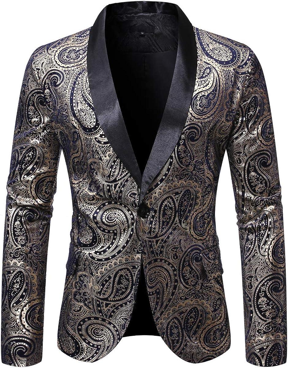 Mens Paisley Dinner Dress Jacket Gold Blazer Suit favorite Translated Floral Sha Tux
