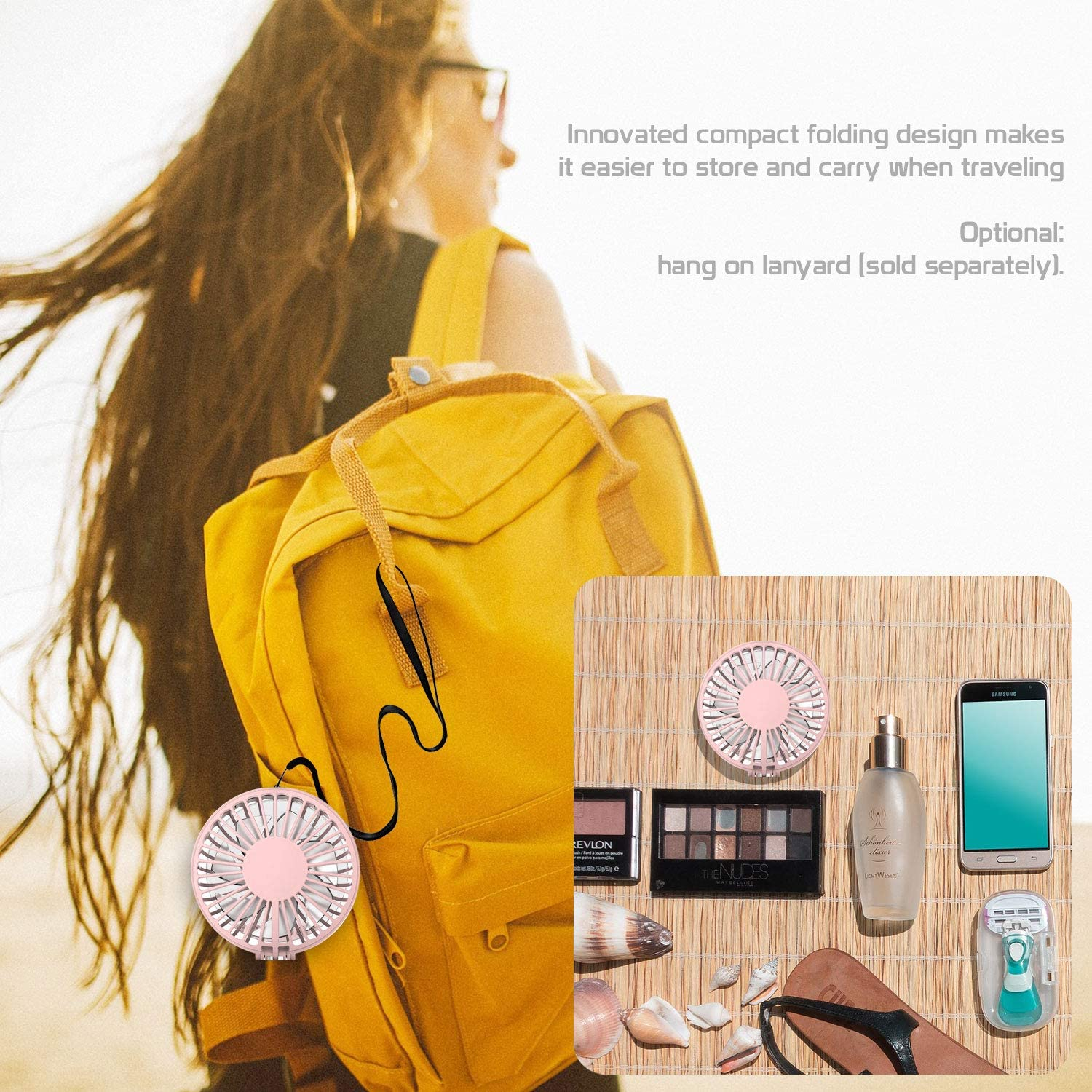 Cellet 3 Speed Portable Mini Fan and Compact Mirror; Folding USB Rechargeable Cosmetic Beauty Air Cooling Fan.
