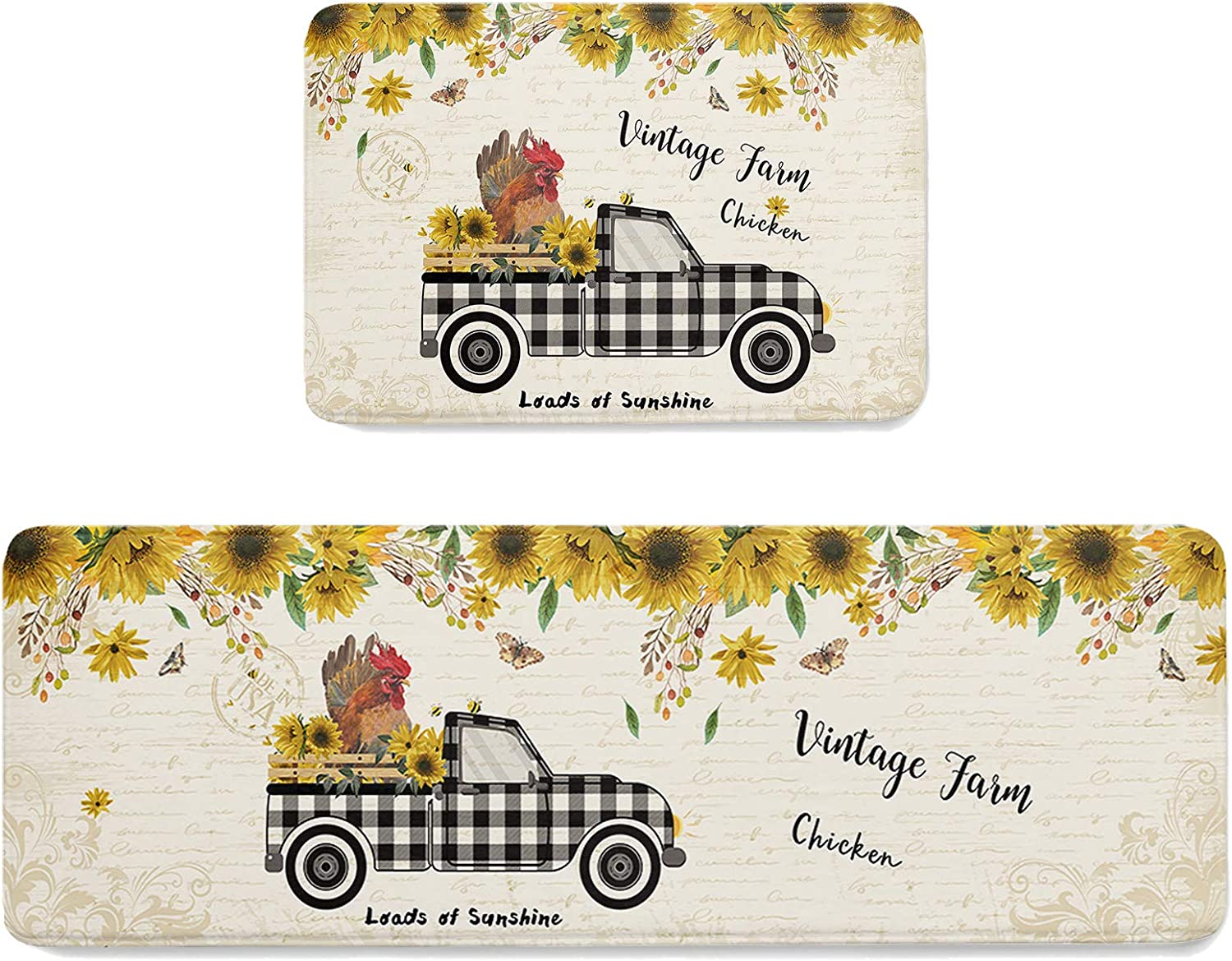 Free shipping on posting reviews Kitchen Mats Rural Black Checkered with Chicken Sunflower R Farm Jacksonville Mall