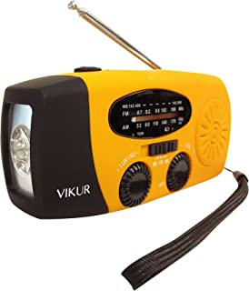 VIKUR Solar Hand Crank Emergency Radio and LED Flashlight Ideal for Emergencies and Outdoor Activities. Rechargeable Batteries, Weather Radio & LED Light