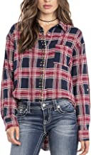 Miss Me MDT1961L Red Studded Plaid Button Front Top