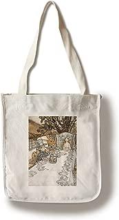 Lantern Press Alice in Wonderland Tea Party - (Artist: Rackhaw c. 1907) - Vintage Advertisement (100% Cotton Tote Bag - Reusable)
