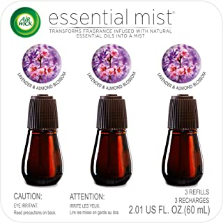 Air Wick Essential Mist, Essential Oil Diffuser Refill, Lavender & Almond Blossom, 3 Count, Air Freshener