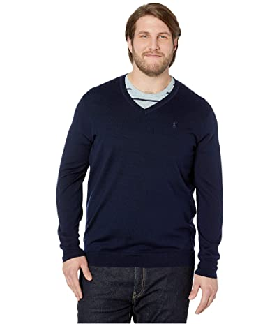 Polo Ralph Lauren Big & Tall Washable Merino Wool V-Neck Sweater (Hunter Navy) Men