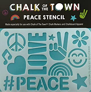 Chalk of the Town Peace Plastic Stencil for Kids