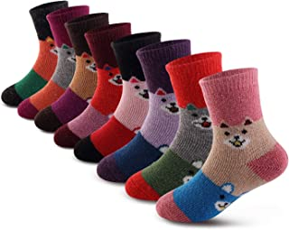Seekay Children's Winter Thick Warm Soft Cute Crew Wool Socks For Kids Boys Girls 8 Pairs
